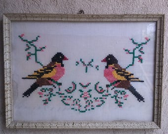 Birds Fabric Picture Embroidery Picture Vintage Embroidery Picture Animals Sciene Embroidery Vintage Embroidery Bird Picture Bird Embroidery