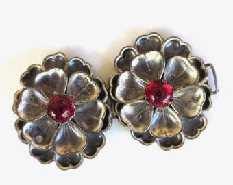 1930s Silver Floral Belt Buckle Red Jeweled Buckle, Old Hollywood. Supermodel Repurpose Upcycle, Tango Gift for Her Jackpot Jen Vintage