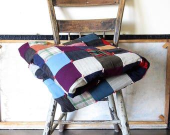 Vintage quilt, patchwork queen size quilt,  rustic quilt, vintage bedspread, farmhouse quilt, camping quilt, country home decor