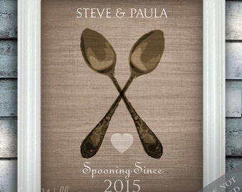 Spooning Since Couple Love - Custom Name Date Print - Personalized Wedding Gift - Bridal Shower - Unframed