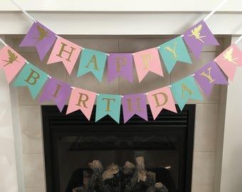 Gold Fairy Birthday Banner, Happy Birthday Banner, Fairy Party, Girl Birthday Banner, Girl Party, Pink, Purple, Turquoise, Photo Prop