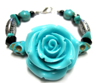 Sugar Skull Bracelet Day of the Dead Jewelry Blue Rose