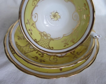 Vintage Grosvenor China Jackson and Gosling fine bone china yellow gold chintz trio Ye Olde English tea cup saucer plate, tea party, wedding
