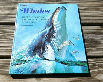 1975 Whales Book, Vintage Whale Book, Whales Friendly Dolphins and Mighty Giants of The Sea, Whales Golden Book by Jane Werner Watson, Whale