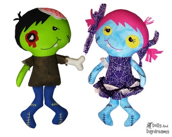 Zombie Sewing Pattern PDF - Spooky Cute Halloween DIY Doll Tutorial