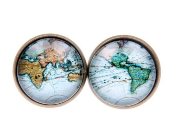 World map Cufflinks, Men's jewelry, (1616)