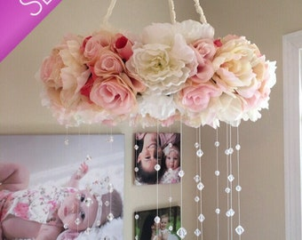 Floral Mobile/Nursery Mobile/Vintage Rose Wreath/Crib Mobile/Flower Baby Mobile/Girls Mobile/Pink Mobile/Rose Mobile