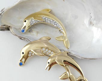 Dolphin Family Brooches - Gift for Women - BJ Dolphin Pin - Beatrix Brooch - Vintage Dolphin Pin - Two Dolphin Brooch - Mother's Day Gift