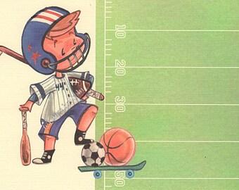 Boy Party Invitation Set of 12, Sports, Football, Soccer, Baseball, Linen Card Stock by MissHollyLu