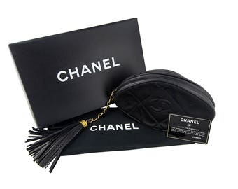 Vintage Chanel Black Quilted Nylon Fringe Mini Pouch Clutch