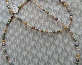 Extra long multi color pearl necklace - opera length