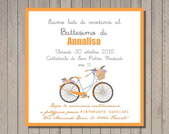 PDF, Baptism invitation card with bike, printable birthday card invititation- baby shower diy