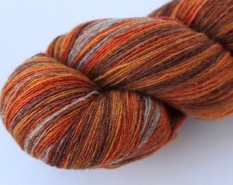 KAUNI Estonian Artistic Wool Yarn Grey Orange  8/1 Art Wool  Yarn for Knitting, Crochet