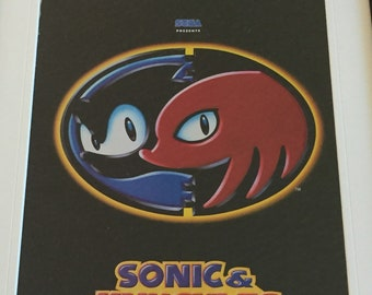 Retro Sonic and Knuckles framed sega video game add wall decor