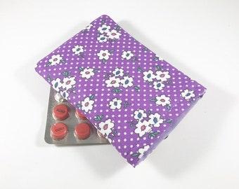 Purple Floral Birth Control Pill Case, Birth Control Pill Sleeve, Birth Control Pill Holder