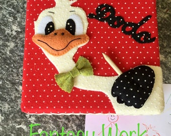 Tin box lined with red felt white polka dots with ostrich Dodo