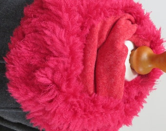 Sale item! Cherry red infinity scarf. Fur fabric loop scarf. Vibrant fur fabric cowl.  Designer made in UK.