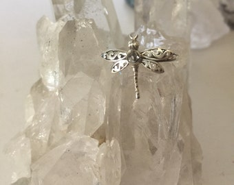 Dragonfly raw Herkimer diamond sterling silver sz 7.25 ring