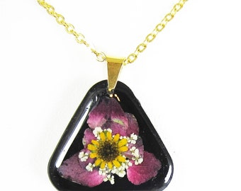 Pink Geranium   Triangular   Pressed Flower Pendant, Real Flower Necklace, Resin, (1931)