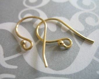 5 pairs, Earwires Earwires, Single Ball French Hooks Bulk, 22x11 mm. 24k Gold Vermeil, wholesale ear wires fhe.1