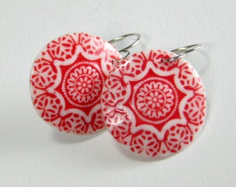 Ceramic Earring Red and White Porcelain Earring Medallion With Hand Forged Sterling Silver Earwires