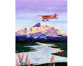 Denali Mountain Painting, K2 Aviation, Living Room Painting, Alaska Mountain, Gift for Pilot, Scott Clendaniel, Alaska Aviation, Mt McKinley