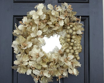 Gold Reflections Mirrored Wreath, Decorative Wall Mirror