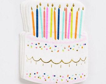 Birthday Cake Napkin Large, Birthday Party Napkins, Kids Party Napkin, Party Supplies, Dinner Napkin, Happy Birthday, Birthday Candle Decor
