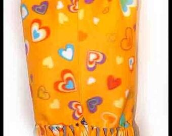 Orange with Multicolored Hearts Fleece Scarf, Themed Muffler, Neck Scarf