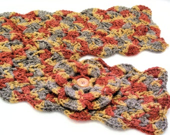 Paprika, Gold and Gray Crochet Scarflette with Flower, Buttoned Scarflette, Buttoned Neck Warmer, SC104-01