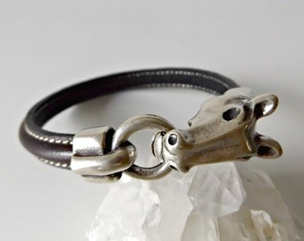 Horse bracelet, horse jewelry, equestrian bracelet, charm bracelet, equestrian jewelry, horses, horse lover gift, leather bracelet, K1824