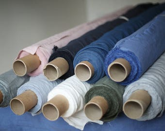 LINEN FABRIC / natural dyed / pre-washed / eco friendly in 22 different colours