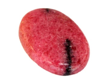 Rhodonite Cabochon Stone (28mm x 19mm x 5mm) 29.5cts - Oval Cabochon