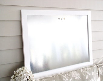 "Industrial Chic Wood Framed Magnetic Bulletin Board in Bright White 20.5 x 26.5"" Dry Erase Galvanized Steel Hardwood Message Board Magnets"