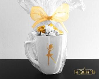Ballerina Mug In Gold Foil - Real Gold Shiny Foil Mug - Ballerina Mug Gift Set - Gift For Dancer Mug Set - Ballerina Cup Gold Coffee Mug