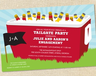 Sweet Wishes Tailgating Cooler Football Party Invitations - PRINTED - Digital File Also Available