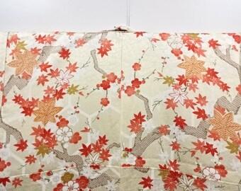 Japanese vintage unused komon kimono maple and ume blossom