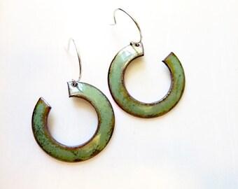 Glass Enamel on Copper Earrings, Cut Out Hoops, Mid-Century Modern, Sterling Ear Wires, Open Circle Earrings