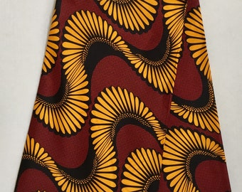 African Print Fabric/ Ankara - Dark Red, Marigold 'Spinna 2.0' Design, YARD or WHOLESALE