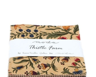 """20 % off thru 5/31 Moda Charm pack THISTLE FARM from  Kansas Troubles Quilters 42 5"""" squares cotton fabric PRAIRIE 9530Pp"""