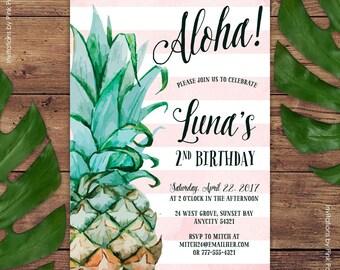 Pineapple Invitation, Birthday Party Invitation, Aloha Luau Hawaiian Printable Invitation