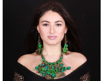 Green Jewelry Set, Natural Jewelry, Green Forest, Bib Necklace, Boho Jewelry Set, Armenian Gifts, Green Earrings, Green Necklace, Art Deco