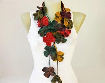 crochet flower necklace scarf  ,crochet lariat scarf