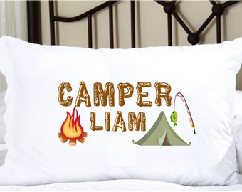 Personalized Pillow Case with Camp and Fire