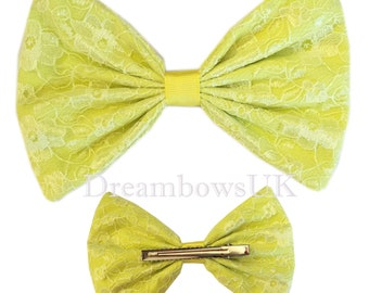 Large Yellow lace hair bow, Large lace hair bow, alligator clips, Girls large hair accessory bow, Pretty floral lace hair accessory, big bow