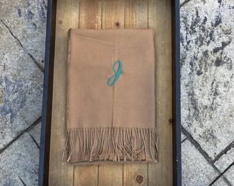 CAMEL PASHMINA SCARF - Pashmina Wrap - Pashmina Shawl - Blanket Wrap - Personalized Scarf - Monogram Pashmina - Personalized Shawl - Gift