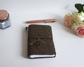 Black Golden Travel journal TN 2 with bronze embelishments