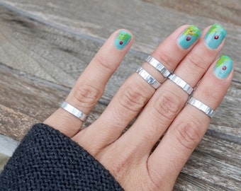 Silver Tone Ring Stacking Rings, Above Knuckle Ring Cuff Wide Band Rings Jewelry Handmade