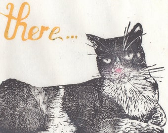Why, hello there Mr. Cat linocut - Yellow Typography with Flirty Grey and White Cat Lino Block Print