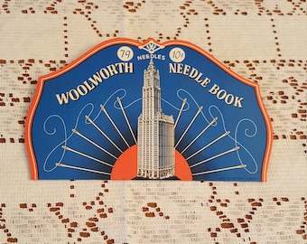 Vintage Woolworth Sewing Needle Book, 79 needles, 10 cents Great Graphics/Colors